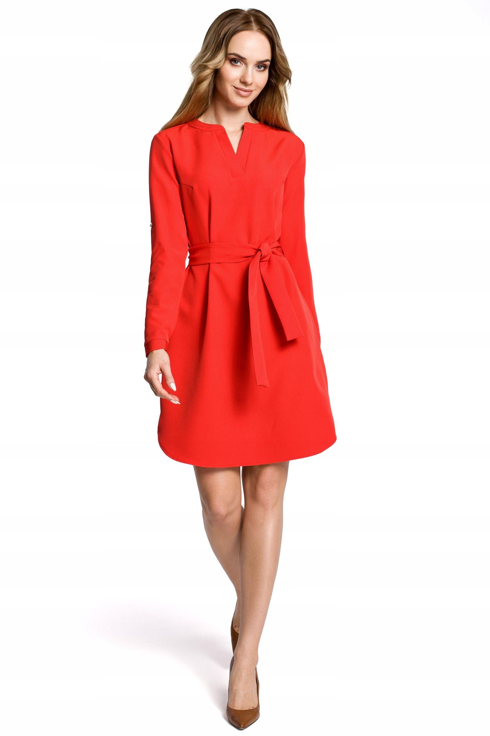 M361 Sukienka koszulowa z paskiem - czerwona 42 |