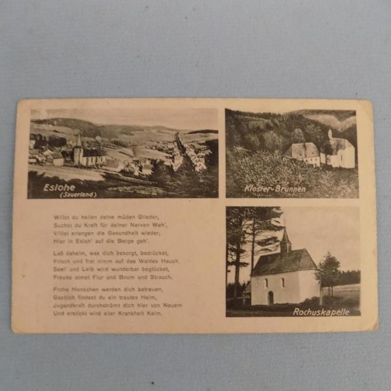 Pohľadnice Eslohe Kloster Brunnen Rochuskapele 1927