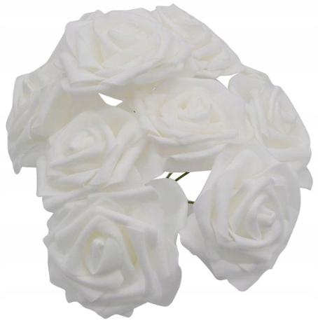 UMELÉ RUŽE kvet BIELA VEĽKÁ svadba 8 cm 20 Ks.