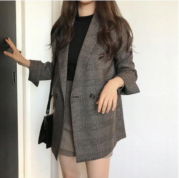 Dámsky kabát, károvaný OVERSIZE retro