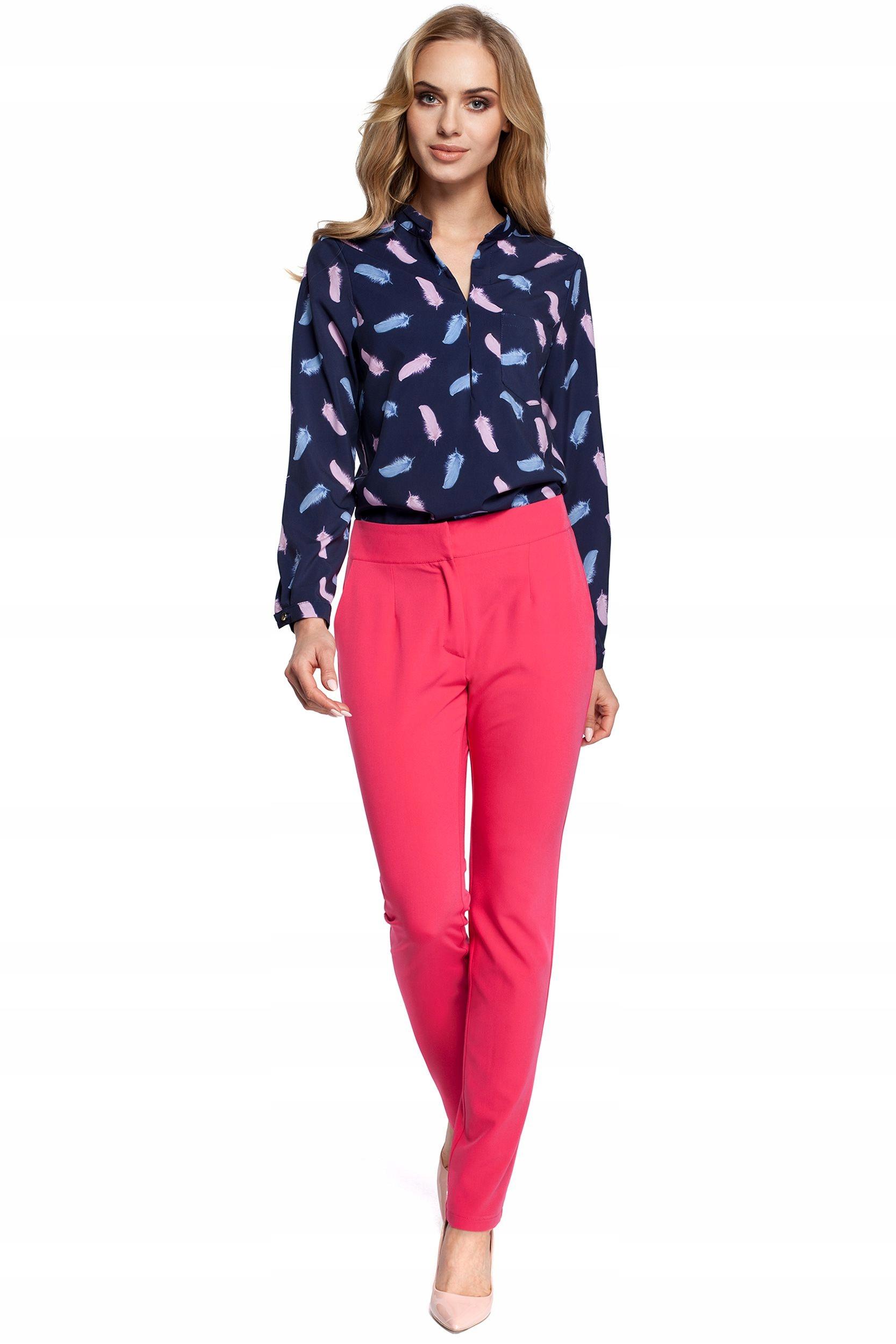 M303 Spodnie garniturowe cygaretki - różowe 40 | L