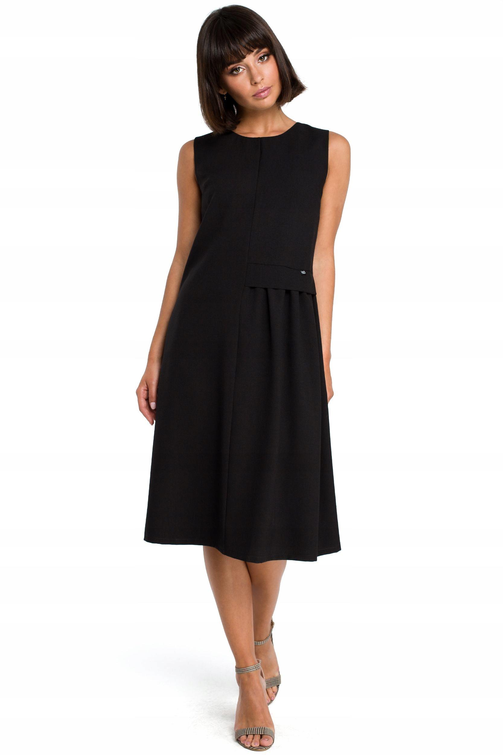 B080 Zwiewna sukienka midi bez rękawów - czarna 38