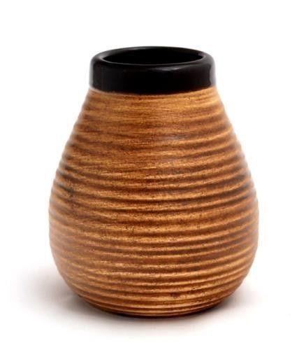 Матеро керамический коричневый в полоску 350 мл