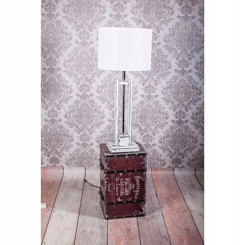Stolná lampa biela VEŽA, ab. čierna, H. 100 cm