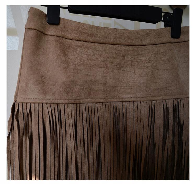 Zwiewna spódnica midi z frędzlami BOHO kolory S