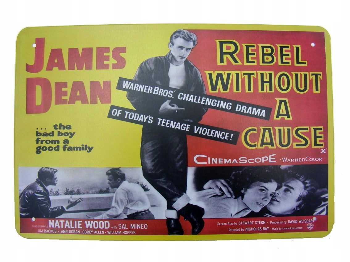 JAMES DEAN REBEL ZNAMENÍ RETRO PLAGÁTU Z FILMU KINO