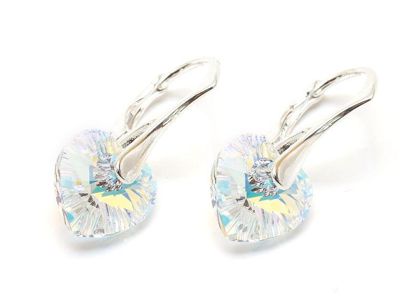 Srebrne Kolczyki z Kryształami Swarovski Serca 10