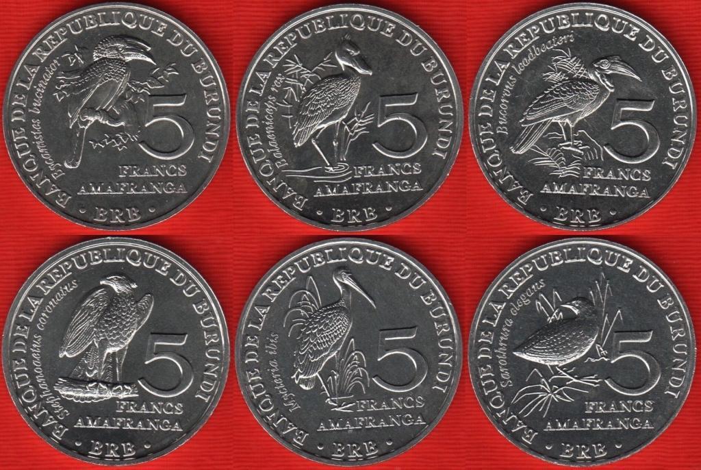 BURUNDI zestaw 6 monet 2014r Ptaki