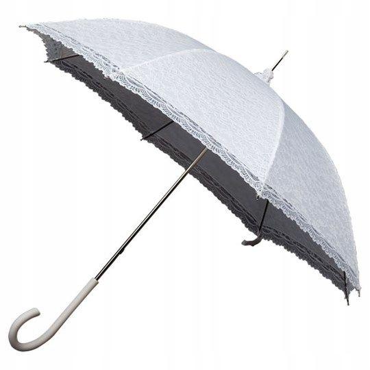 Dáždnik retro romantickou čipkou, biela