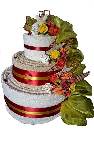 Торт из 4-х БОЛЬШИХ полотенец с вышивкой ПОДАРОК на СВАДЬБУ