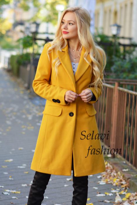 SELAVIfashion Klasyczny płaszcz jednorzędowy 36
