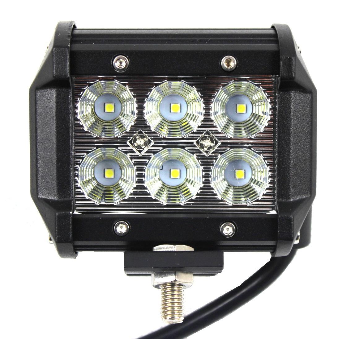 лампа рабочая 6 led панель 18w cree галоген 12v 24v