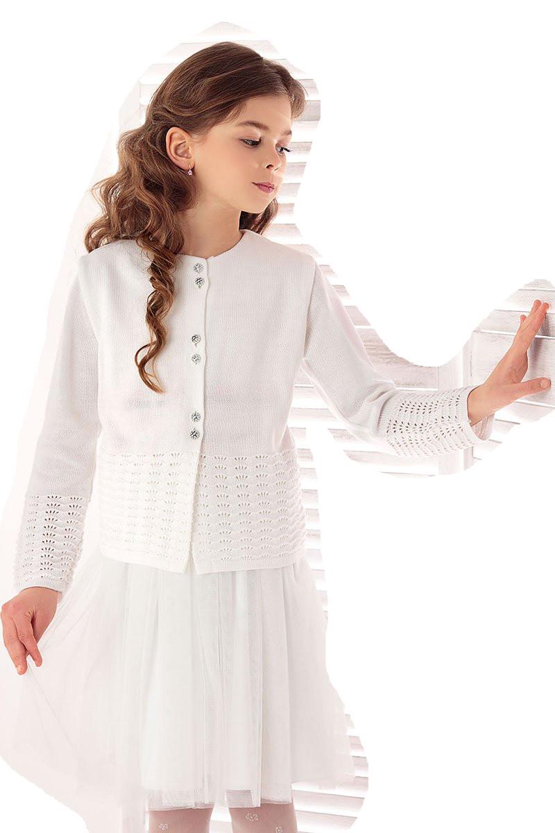 1725_Lekki sweterek ażurowy biały komunia rozm 146