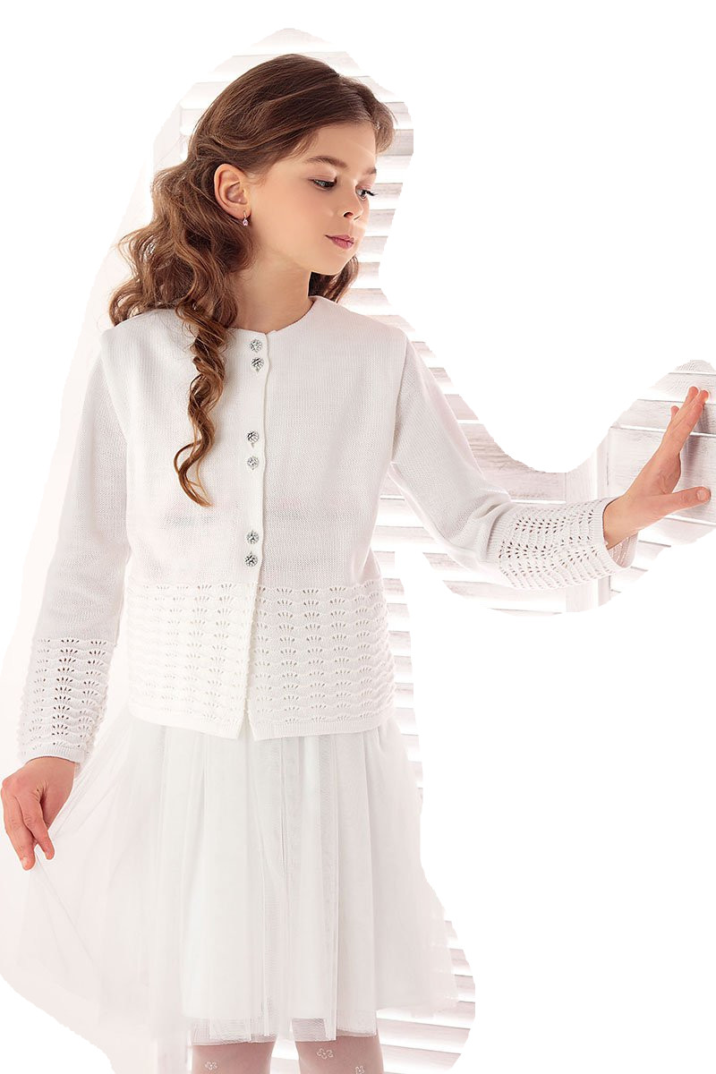 1725_Lekki sweterek ażurowy biały komunia rozm 152