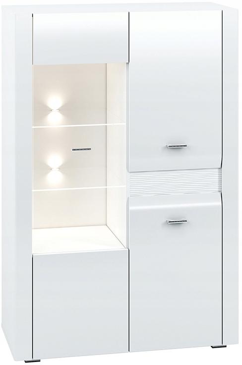 АРКО 05 шкаф-витрина 92 см низкая с полками, белый глянец