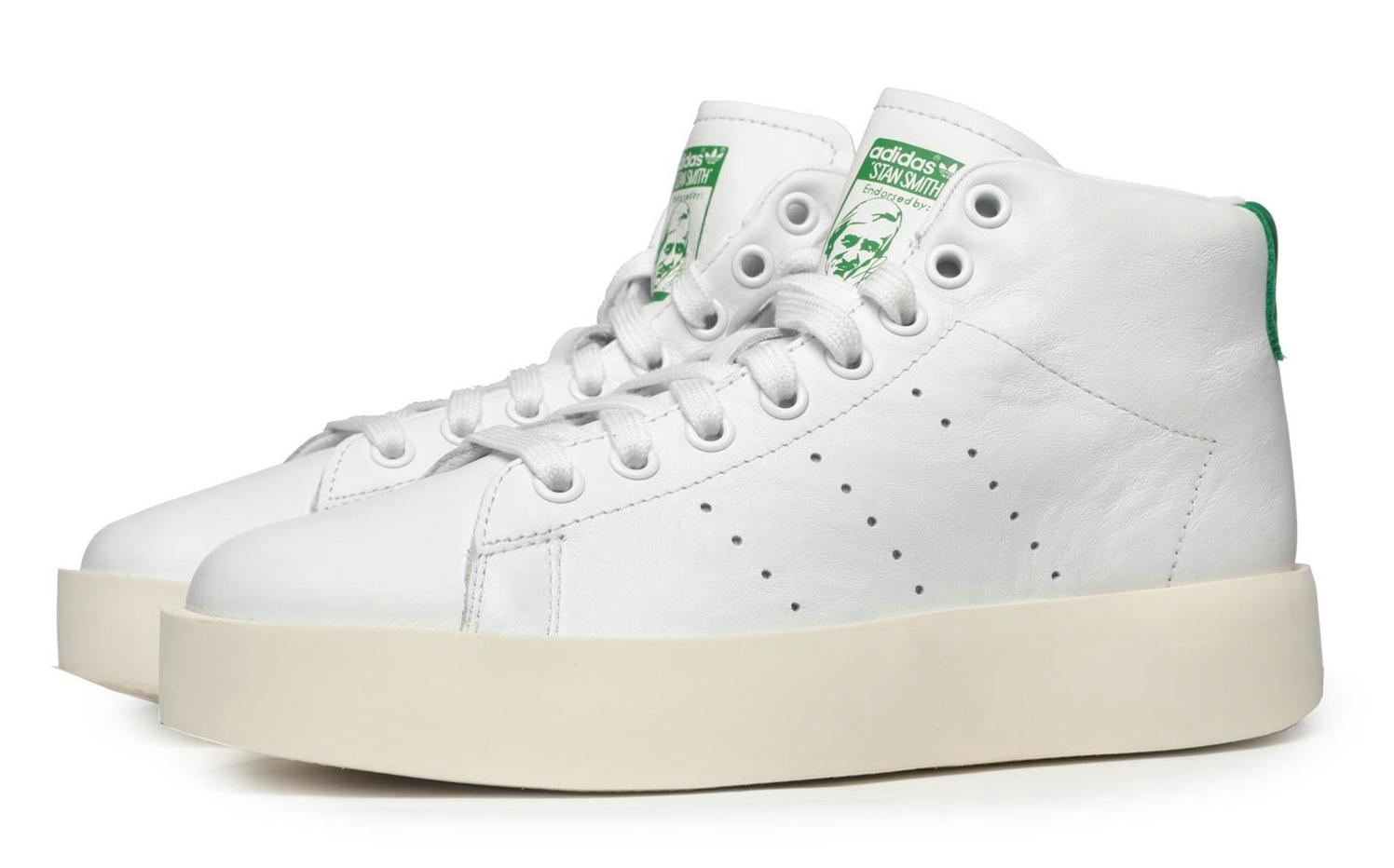 new product 7d175 bd16b ADIDAS ORIGINALS STAN SMITH BOLD MID WHITE LEATHER
