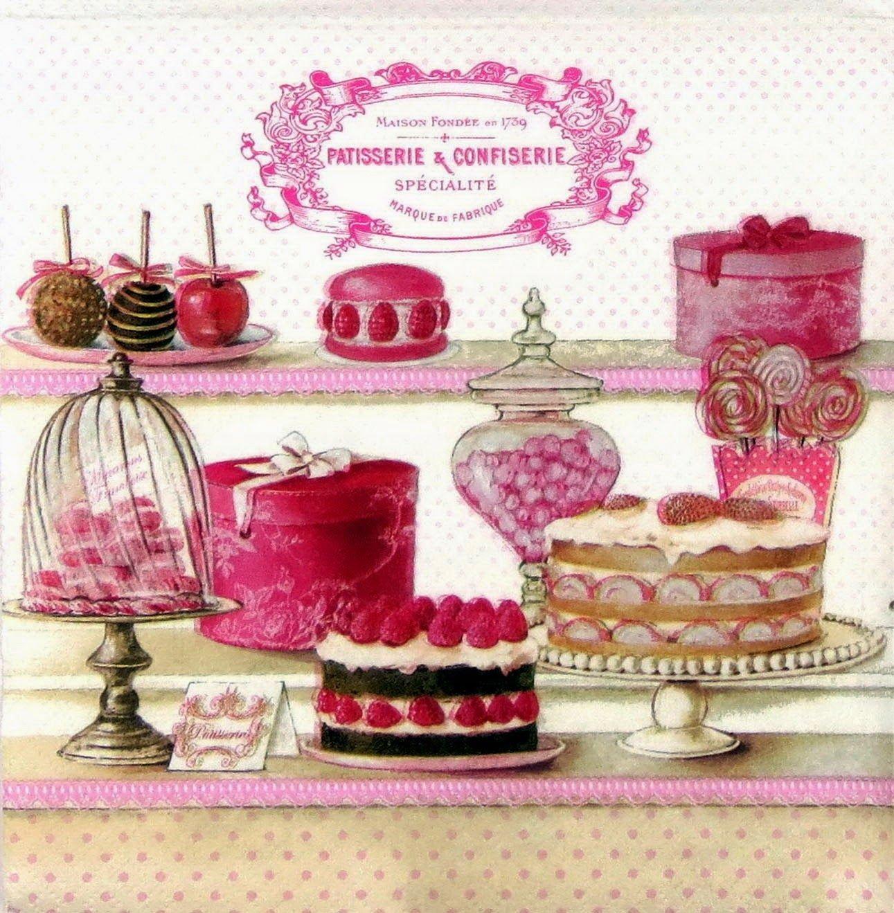 ružová cukrár - vintage kreslenie