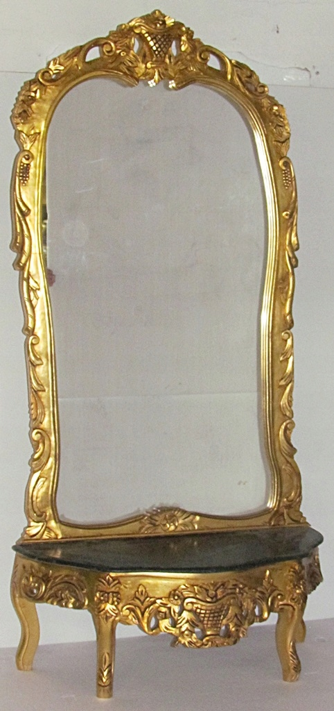 Item GOLD MIRROR CONSOLE is achieved COUNTERTOP MARBLE SCULPTURE