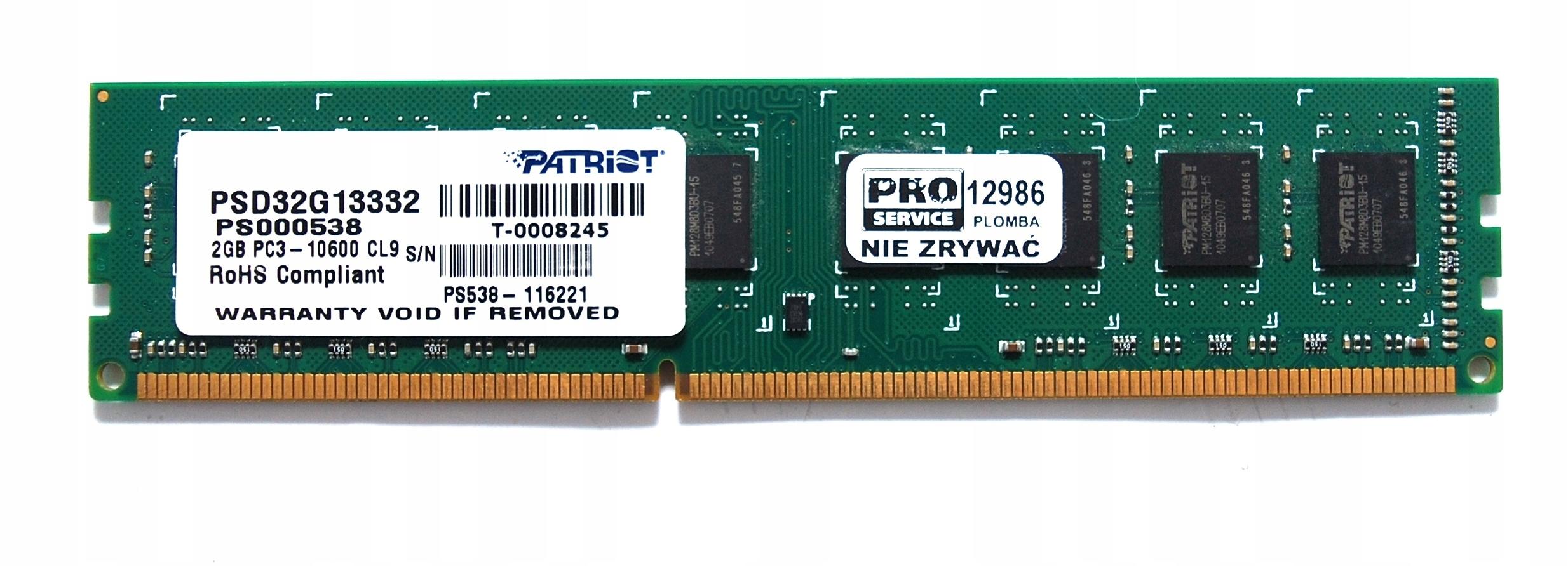 RAM DDR3 Patriot 2GB 1333 MHz FV GW 12986