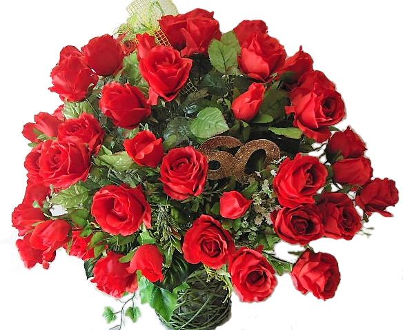 Kosz 60 Roz Kwiaty Bukiet Jubileusz Trwaly Prezent 7524243553 Allegro Pl