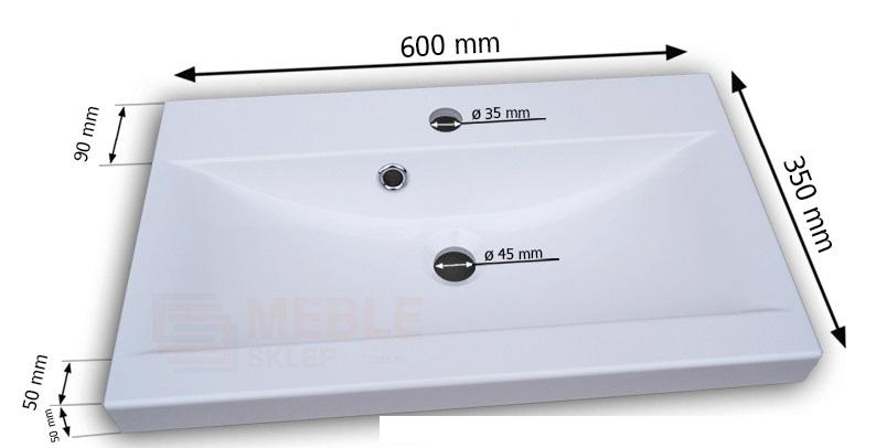 Univerzálny Drez KATE biela 60 kúpeľni, umývadlo