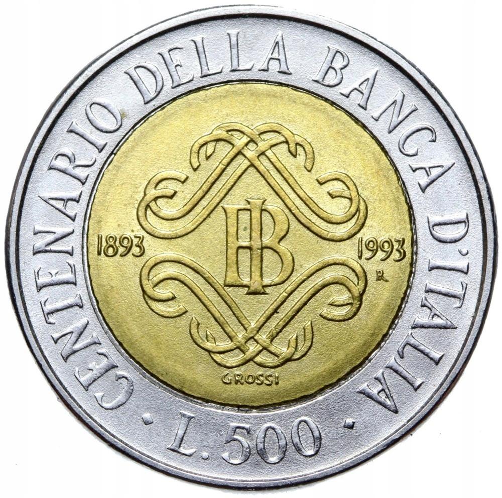 Taliansko - 500 LIR 1993 - 100 rokov banky - Bimetal