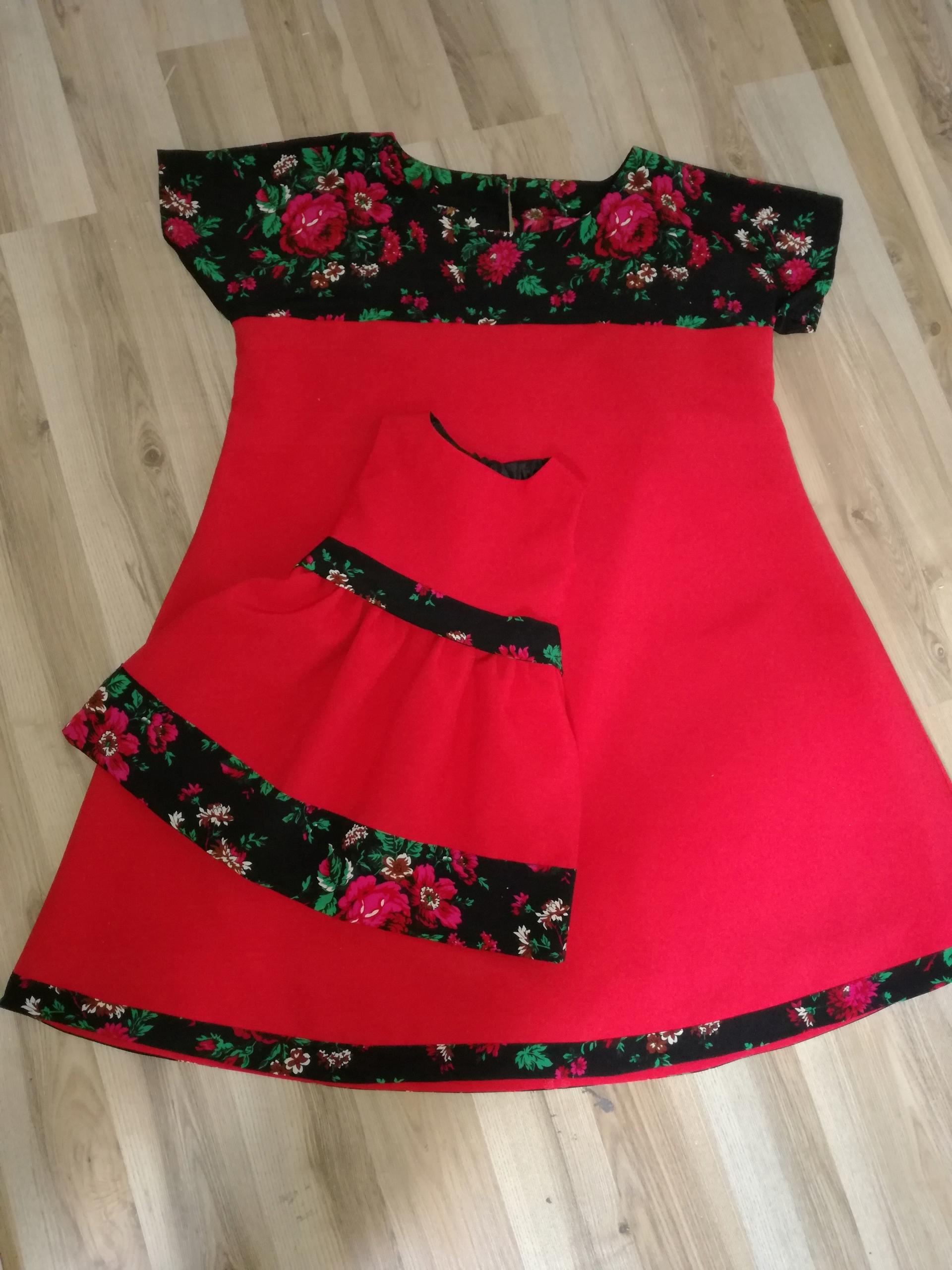 sukienka góralska dla mamy i córki  folk  kwiaty