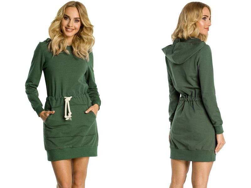 a1d683c4af0 Kupić.pl - Allegro - Dresowa Bawełniana Sukienka Typu Kangurek Sukienki