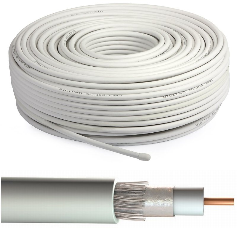 Kábel koaxiálny kužeľ AERIAL TV RG6 100M