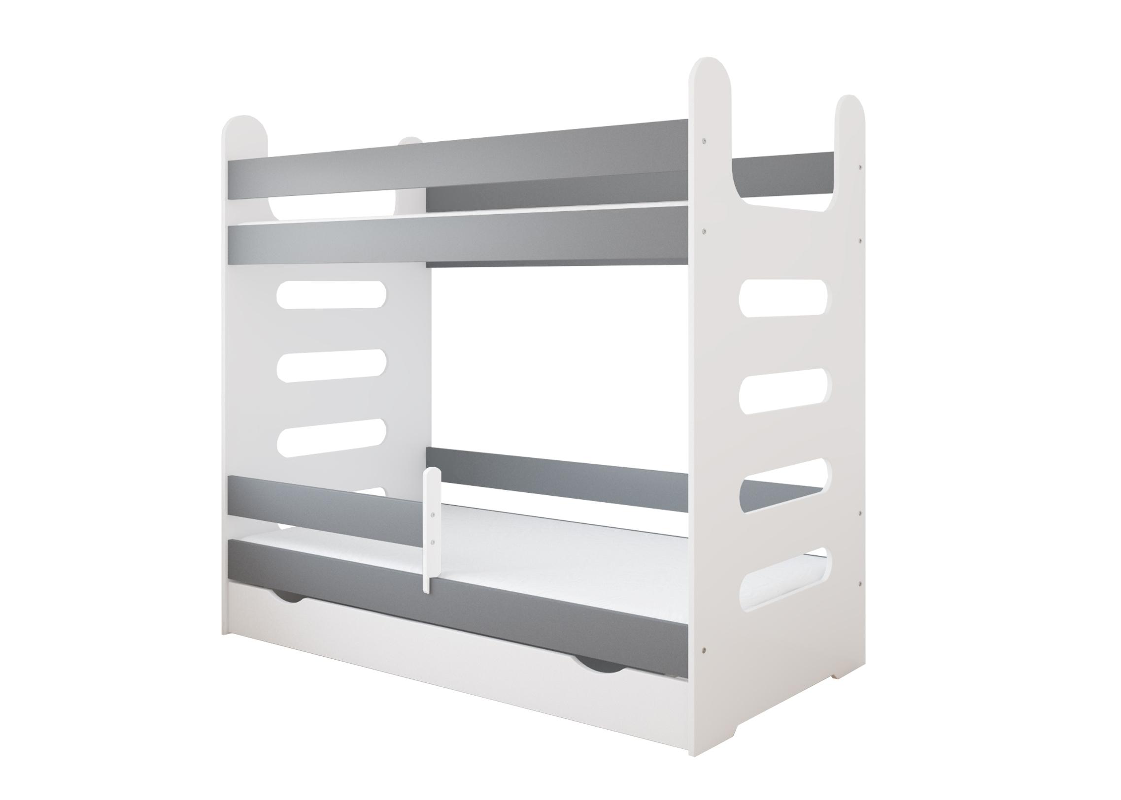 Łóżko piętrowe MATI 180x80 z szufladą i materacami