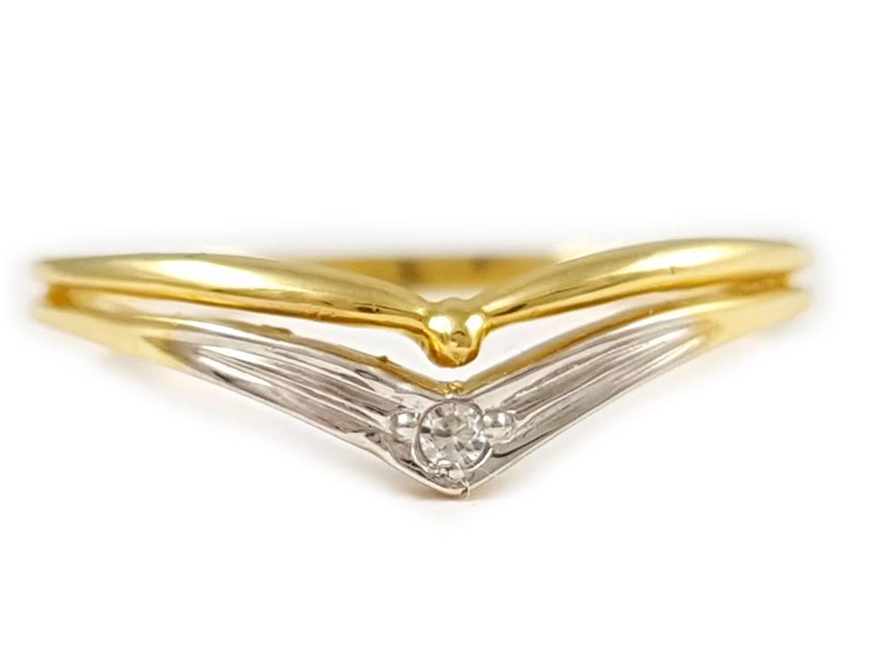 Prsteň žlté, biele zlato 14K s cyrkoniami