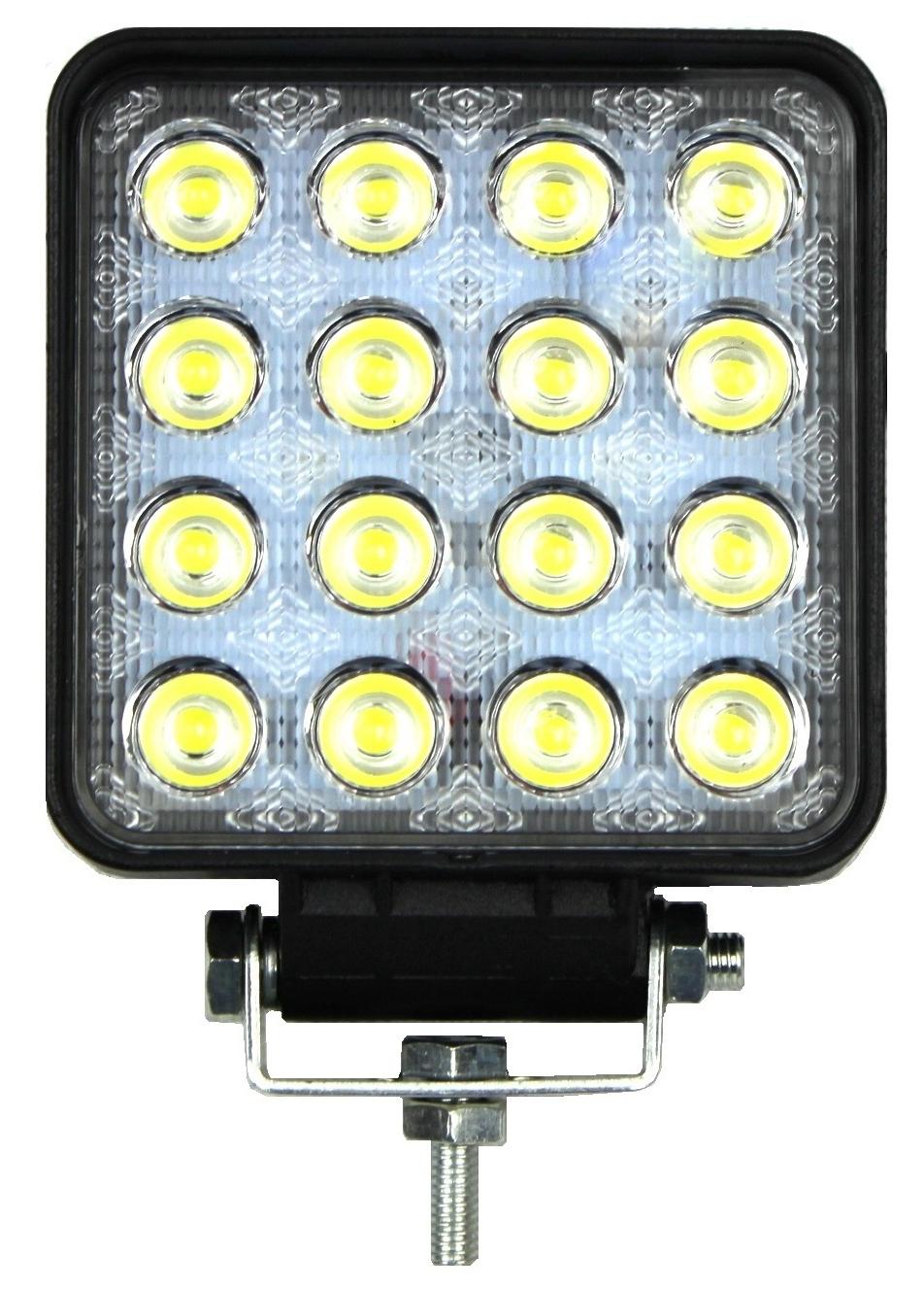 лампа рабочая 16 led галоген 48w 12v 24v ledowa