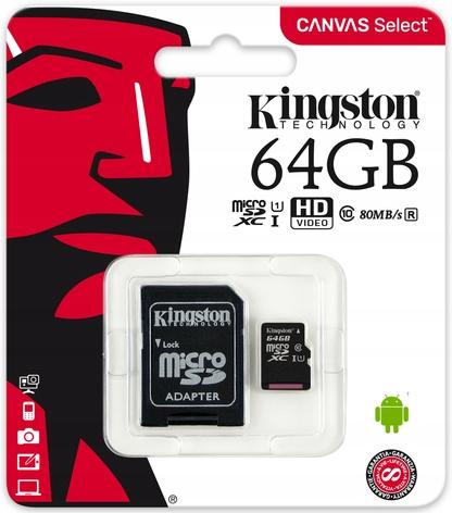 Kingston Karta Pamięci 64GB Micro Sd class 10 Uhs