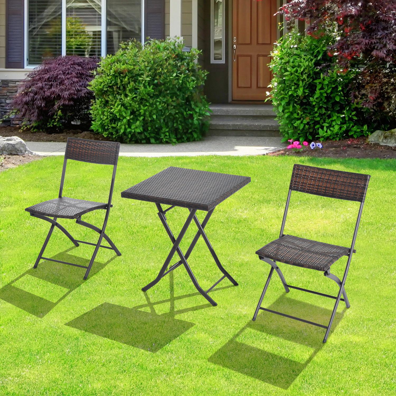 Ratanový záhradný nábytok, stôl, stoličky, bronzová súprava, výrobca Outsunny
