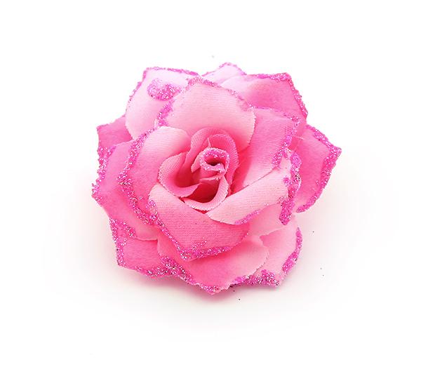 Broszka Różyczka Z Brokatowym Pyłem Różowa