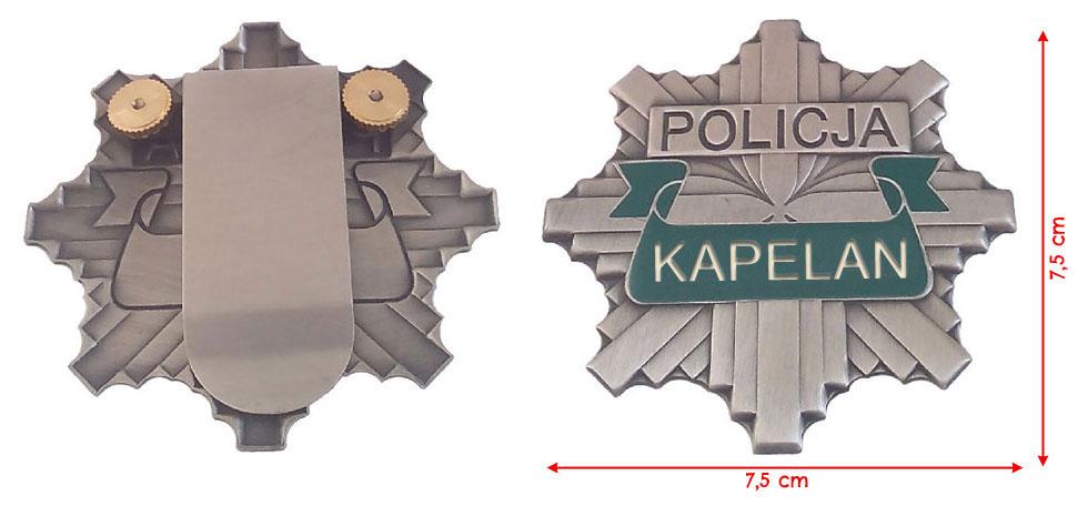 ODZNAKA Policyjna KAPELAN   GWIAZDA POLICJA 997 Oryginał oryginał