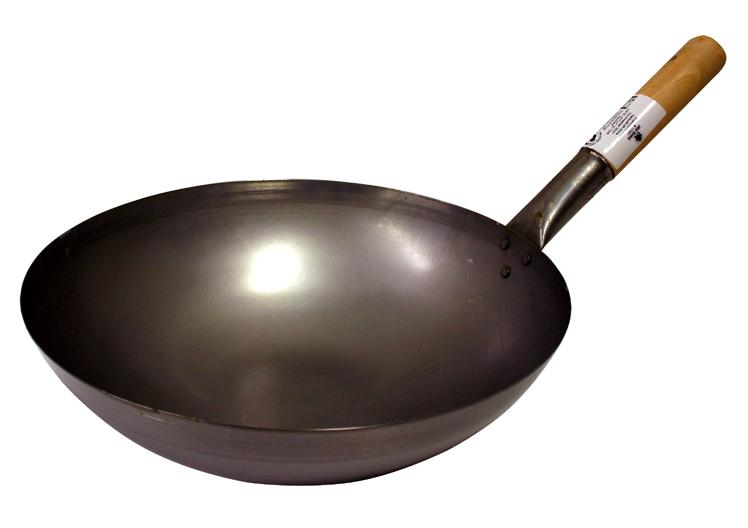 Carbon oceľ wok s priemerom 30 cm - zaoblené