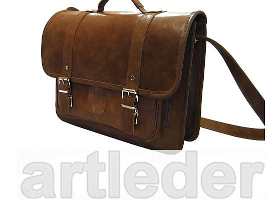 Kožená taška retro kožená aktovka poľského výrobcu
