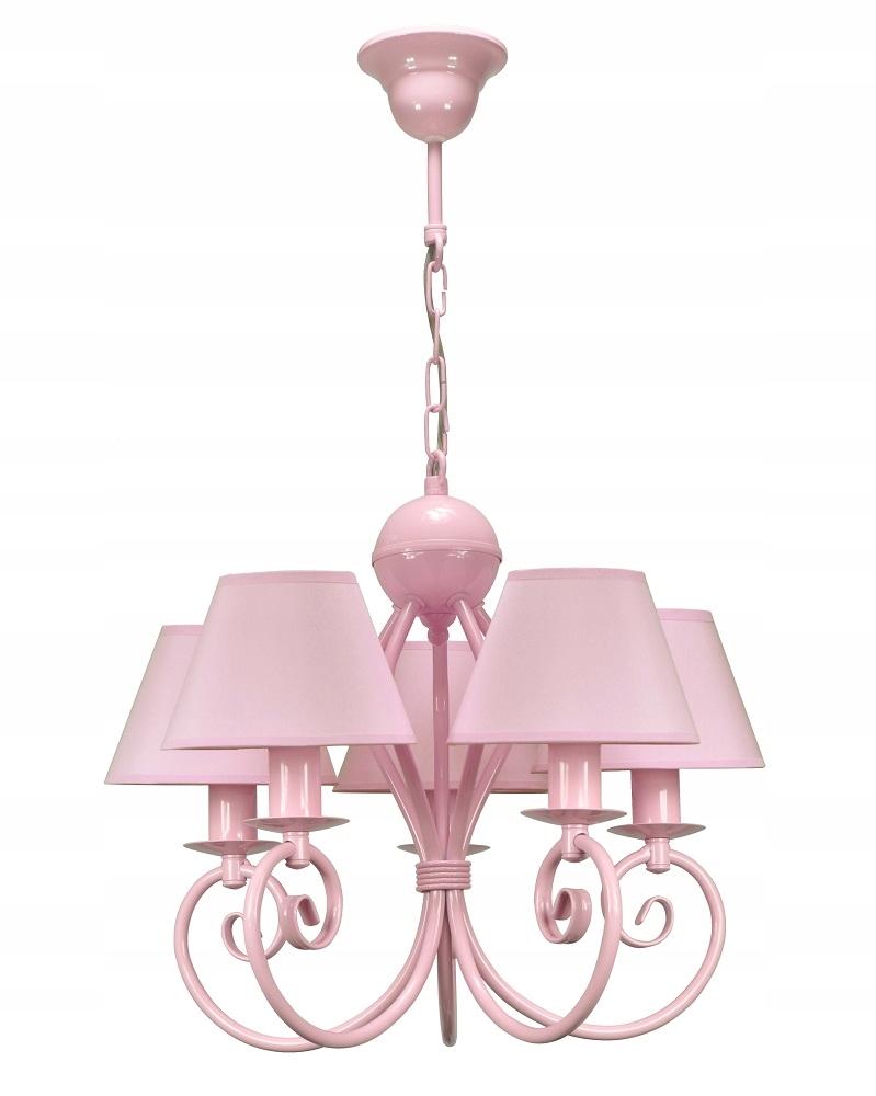 Różowy żyrandol do pokoju lampa wisząca LIVA 5