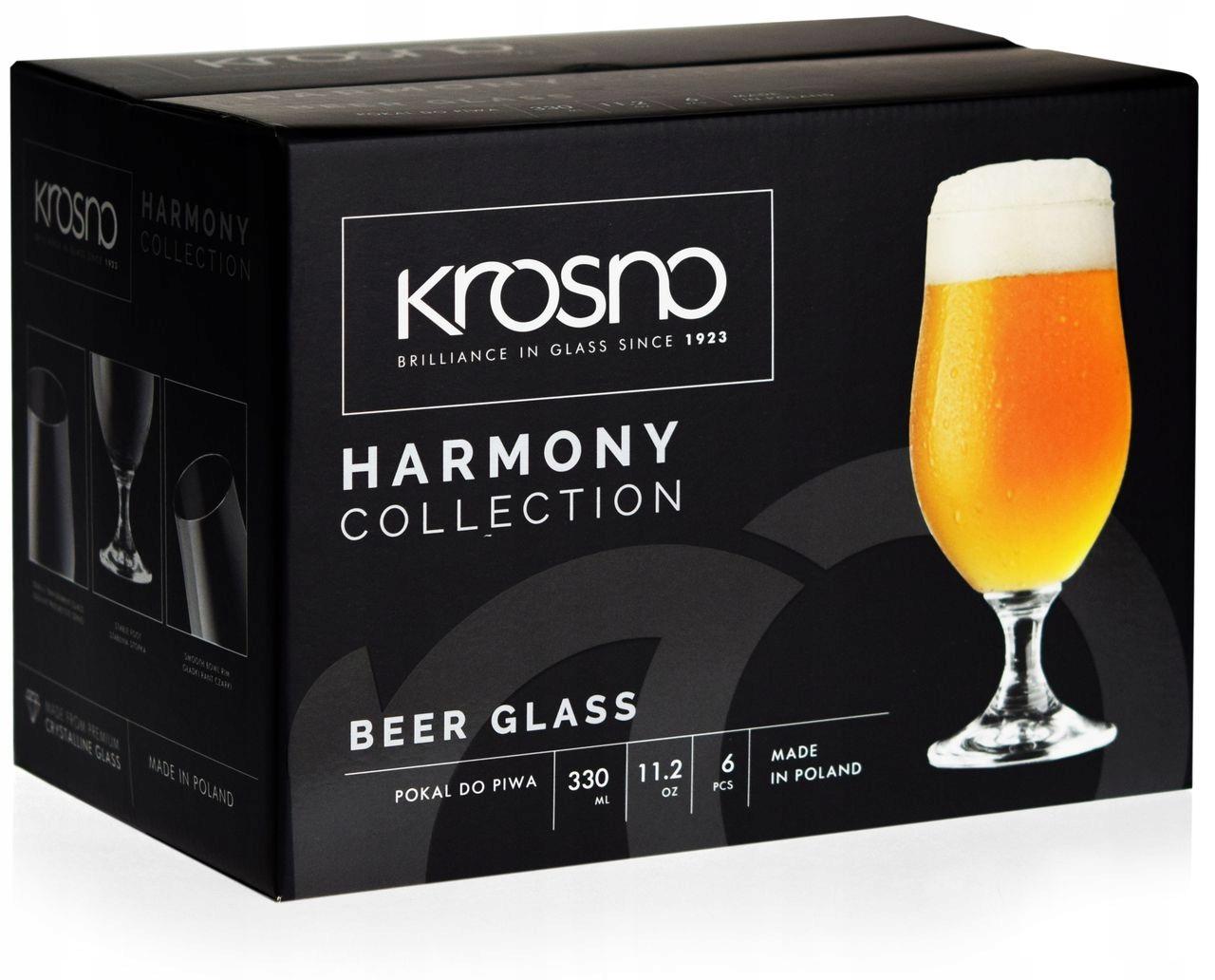 KROSNO Harmony pokale kufle szklanki do piwa 330ml