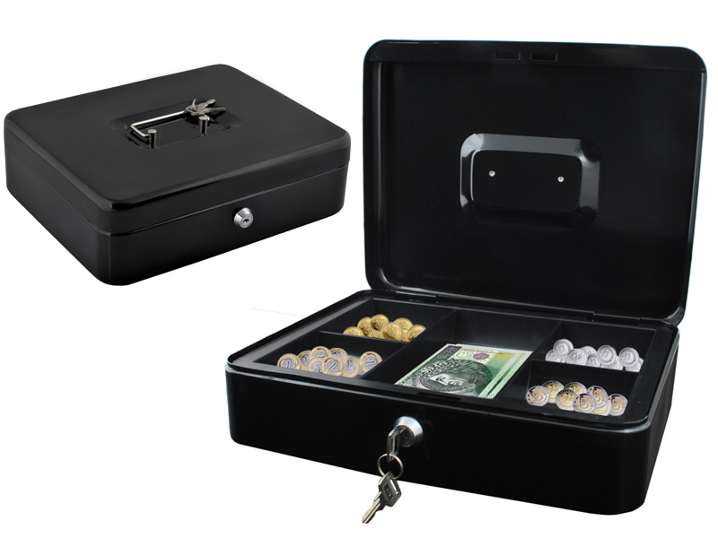 Metalowa kasetka GIGANT SEJF pieniądze 30cm i klucz