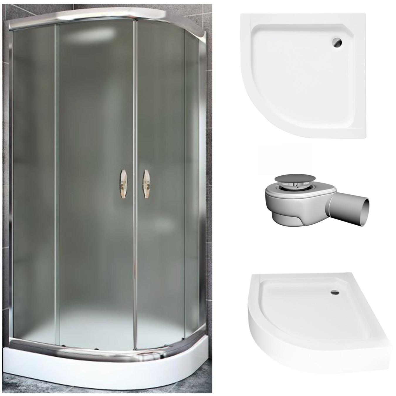 Sprchovací kút 80x80 s ľadom +ZÁSOBNÍK+SIFÓN