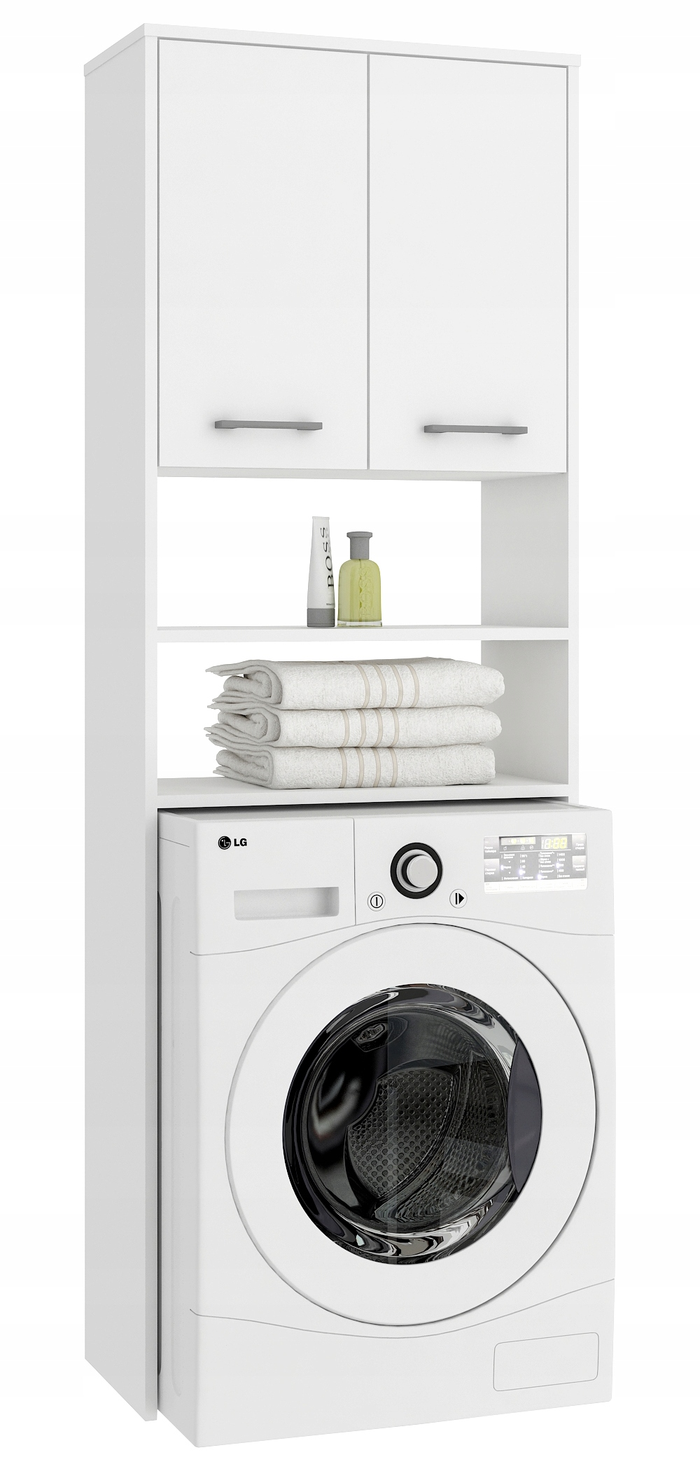 Bývanie pre práčka, šatník NEMESIS, biela/biela
