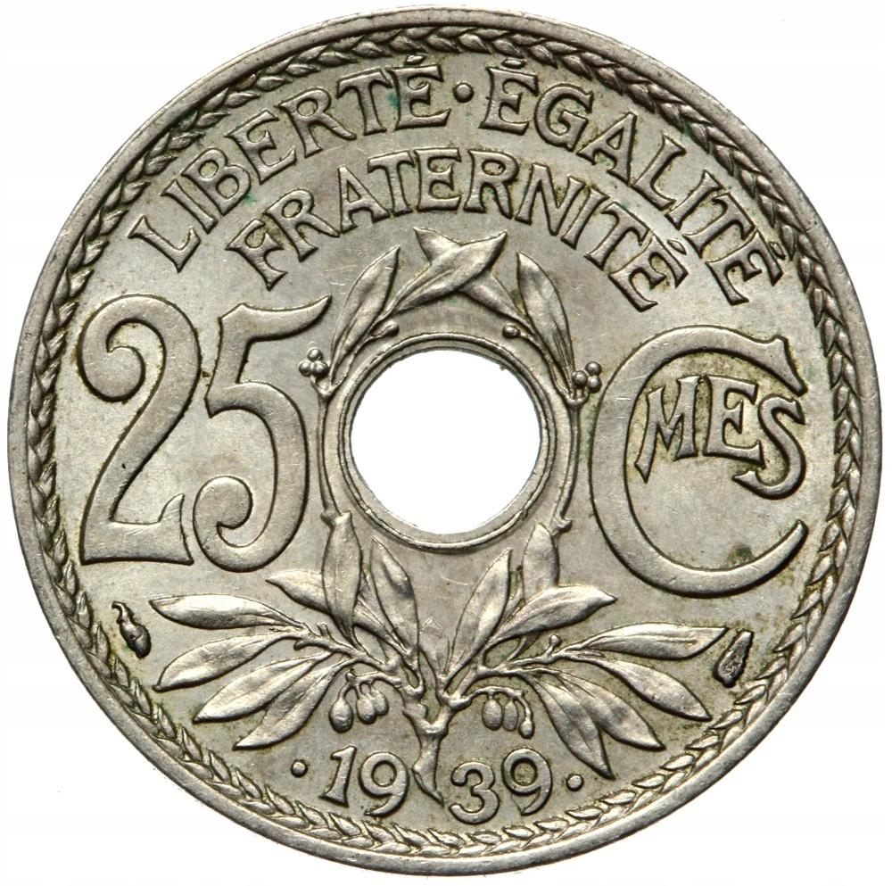 Francúzsko - mince - 25 centov 1939 - s bodkami