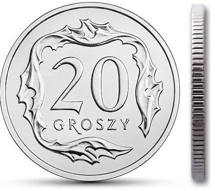 Чеканка монет достоинством 20 грошей 1997 года из мешка