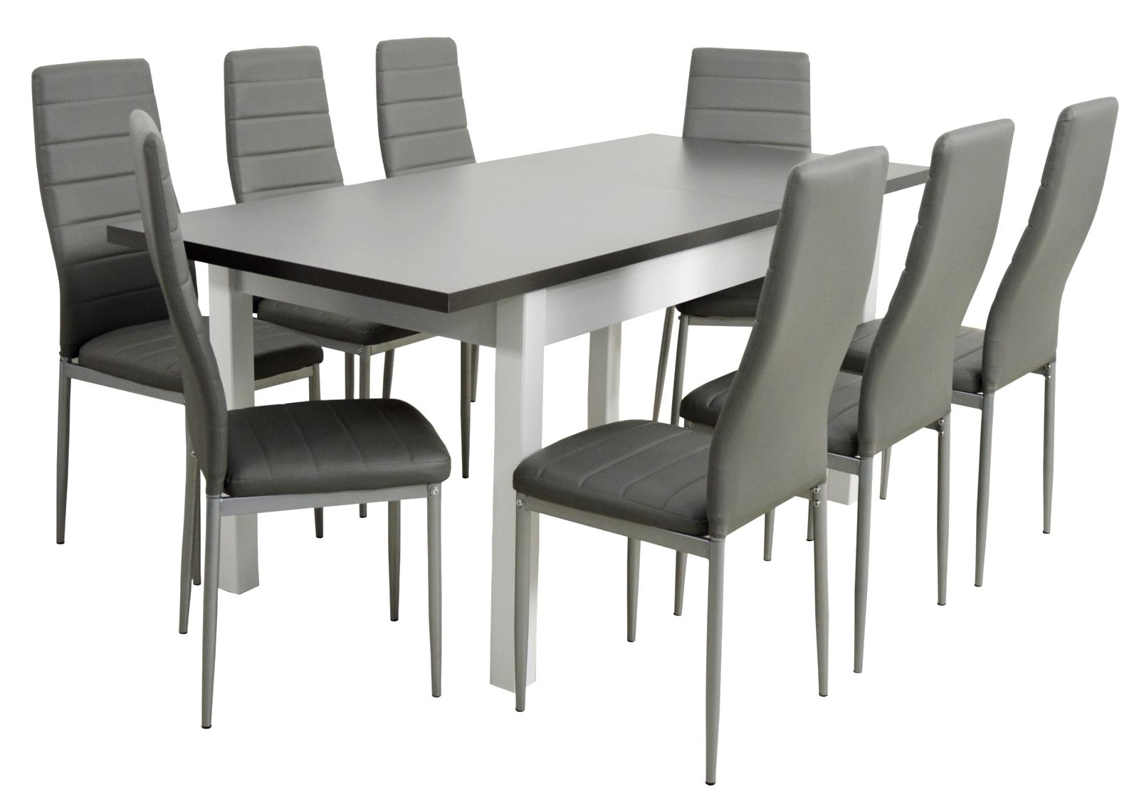 8 stoličiek a veľký jedálenský stôl biely skladací stôl grafit