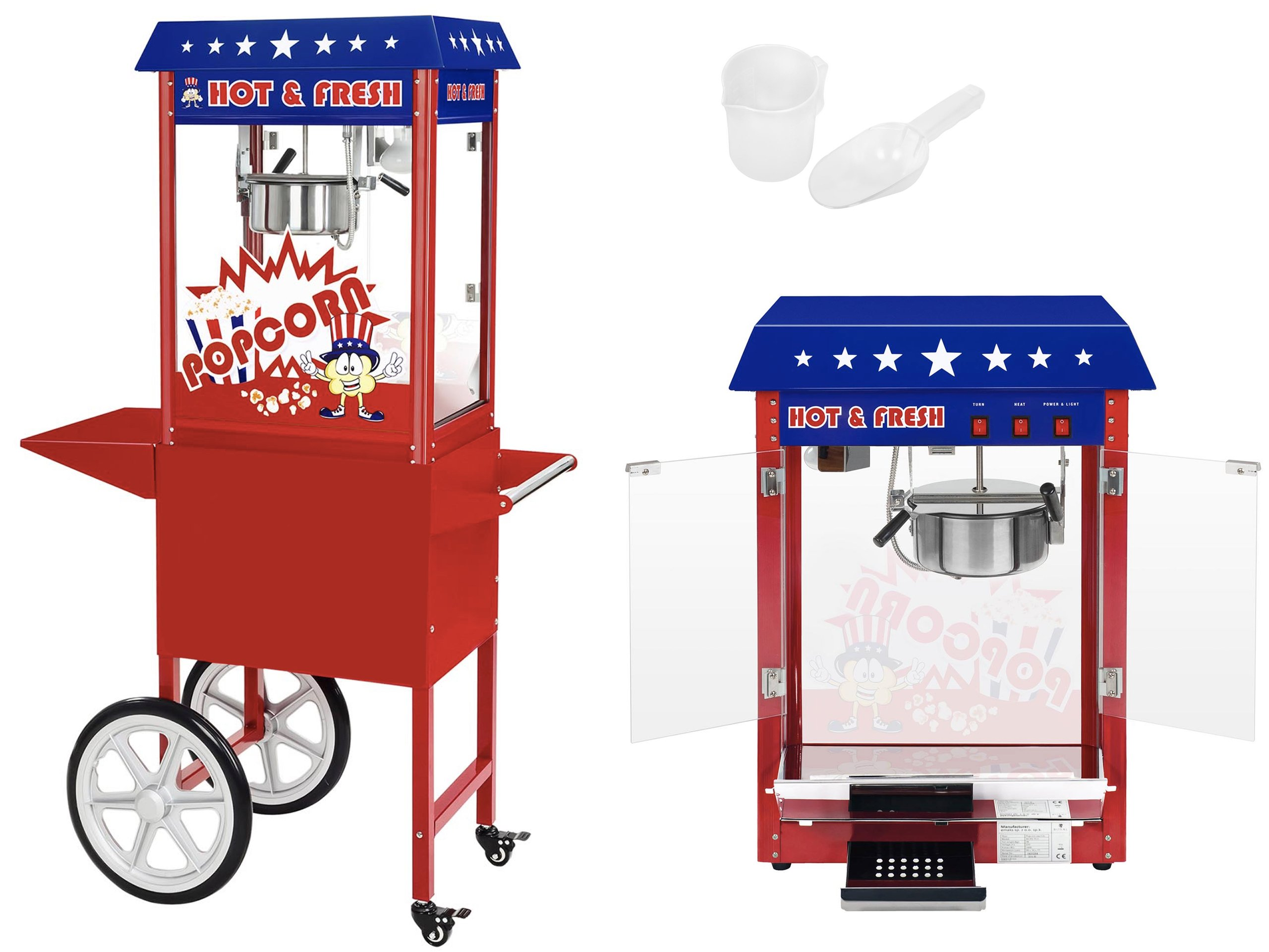 Stroj pre Popcorn Corning Roasing s vozíkom