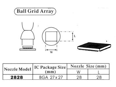 Spájkovacia tryska pre stanicu HotAir BGA 27x27mm 2828