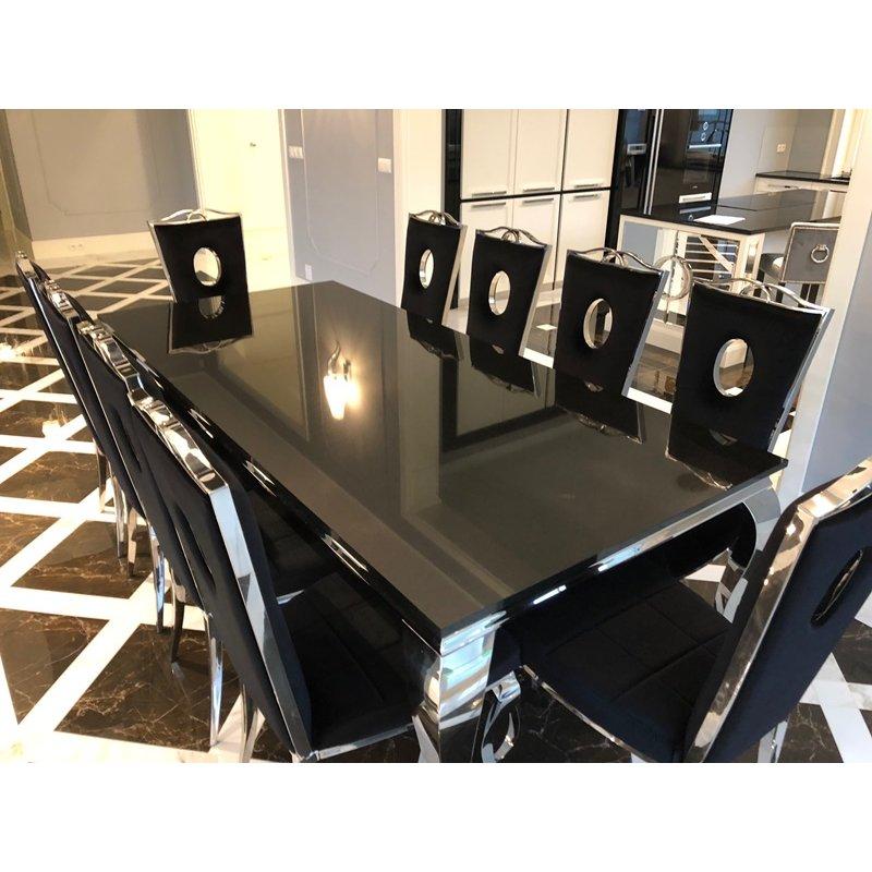 Jadalnia Elegannte Nero 180x90x+8 krzeseł