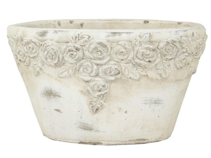Beżowa Doniczka Ceramiczna Owalna Ogrodowa Ecru 6811091273
